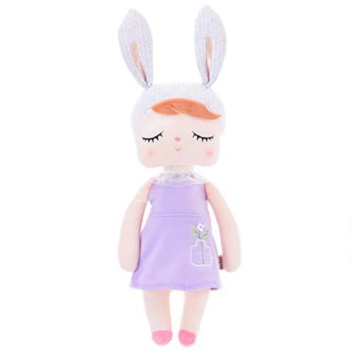 Kaninchen Mädchen Baby Plüschpuppen Spielzeug, Rosa Ohren mit grauem Kleid Gefüllte Hase / Osterhase / Kaninchen Puppen - Plüsch Angela Baby Schlafpuppen mit Geschenktüte (12 Zoll) - Mädchen Geschenke