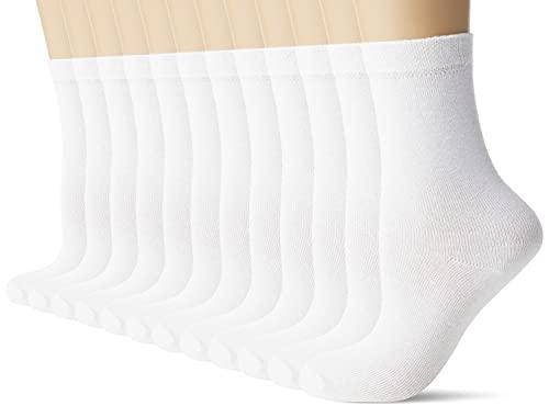 FM London - Calcetines escolares unisex para niños, transpirables, duraderos, ajuste cómodo, 12 unidades, Blanco, 27-30 EU