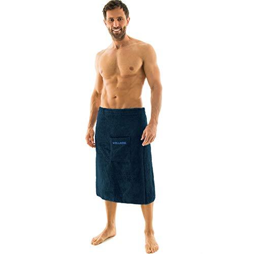 aqua-textil Wellness Saunakilt Herren 70 x 160 cm dunkel blau Baumwolle Saunasarong Frottee Kilt kurzer Schnitt