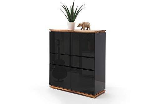 Newfurn Highboard Sideboard Modern Kommode Standschrank Hochschrank II 102x115x 40 cm (BxHxT) II [Karatschi.Five] in Eiche/Schwarz Wohnzimmer Schlafzimmer Esszimmer