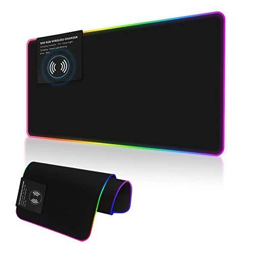 Grand Tapis de Souris avec Chargement sans Fil - 10 W - Éclairage LED Doux - Clavier de Jeu sans Fil