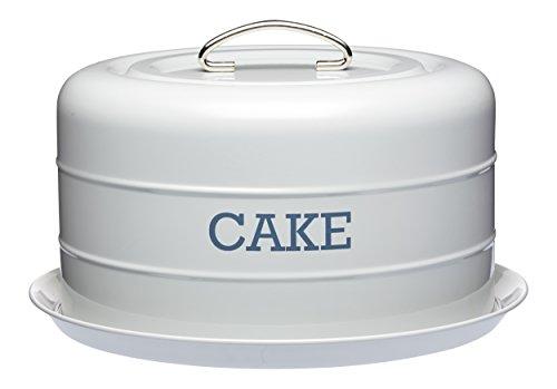 KitchenCraft Living Nostalgia Luftdichte Runde Kuchenvorratsdose, Kuchenglocke/Kuchenplatte zum Transportieren für Hobbybäcker, Tragegriff mit Deckel und Bodenplatte, 28,5 x 18 cm – French Grey