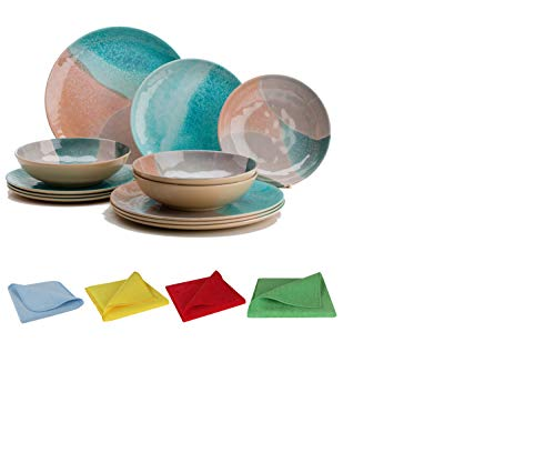 Moritz Melamin Camping Geschirr Set 4 Personen Dunes Design + 1x Mikrofasertuch Set 4 Farben Campinggeschirr Tafelgschirr