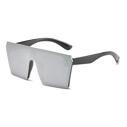 ZZOW Gafas De Sol Cuadradas De Gran Tamaño De Una Pieza para Mujer, Diseñador De Marca, Espejo Colorido, Lentes Reflectantes, Gafas De Sol para Hombre