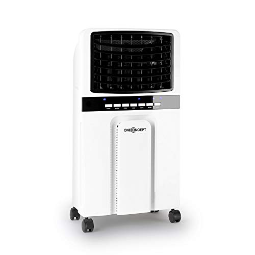 Oneconcept Baltic – Enfriador de Aire 3 en 1, Ventilador, humidificador y Enfriador de Aire, 65 W, caudal de 360 m³/h, depósito de 6 litros, 2 acumuladores de frío, oscilación Horizontal, Blanco