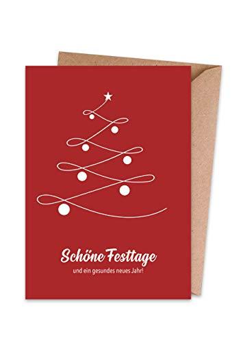 Weihnachtskarten (15er Set) Weihnachtsbaum – hochwertige moderne Klappkarten & Umschläge (Kraftpapier) – Grußkarten – matte Oberfläche – einzigartiges Design