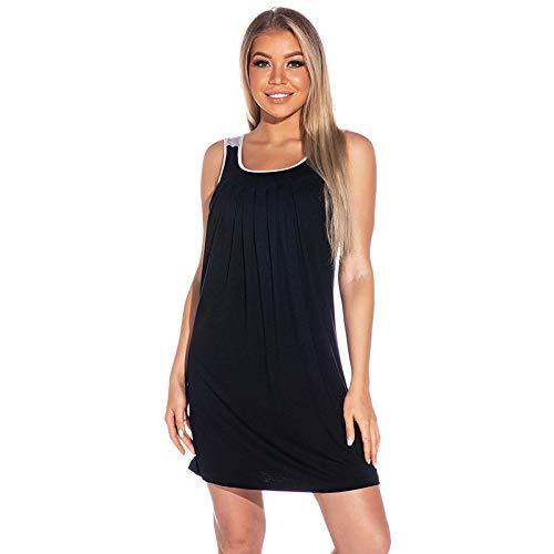 N\ A Pijamas para mujer, tamaño grande, relajado, ocio, cómodo camisón para el hogar - negro - Large
