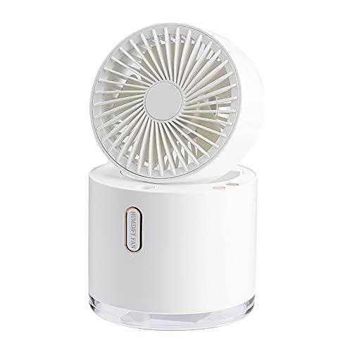 Hansensi - Humidificador 2 en 1 con ventilador, mini humidifier, ventilador USB portátil, para casa y oficina, color blanco