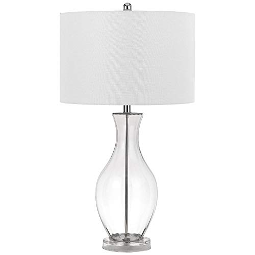 Cal Lighting BO-2792TB 150w 3 Way Skye Glass Table Lamp with Fabric Shade, Clear