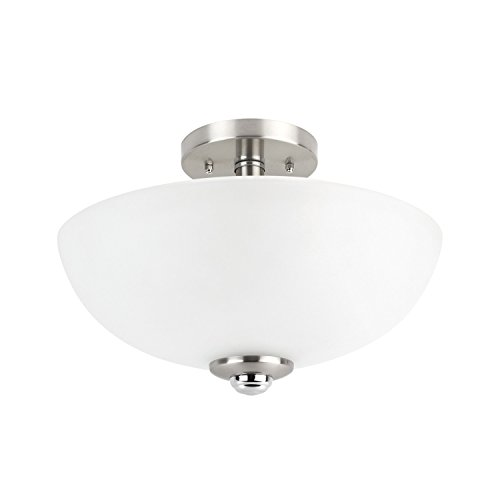 Globe Electric 63357 Hudson 2-Light Semi-Flush Mount Ceiling Light, Brushed Nickel, Chrome...