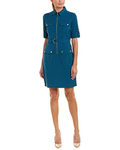 Business//Leger Sharagano Damen Double Breasted Shirt Dress Kleidung