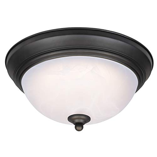 Westinghouse Lighting 64006 Lámpara de techo de 28 cm para interiores con LED regulable, acabado en bronce aceitado con cristal de alabastro blanco, 15 W, 28 cm