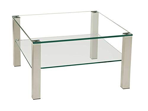 tischdesign24 Perth1019-A Couchtisch mit einer 12mm Glasplatte. Stollen in 50x50mm Edelstahl gebürstet und versiegelt mit Rollen. Ausführung: Klarglas mit Satinoablage Größe: 70 x 70 cm , 49cm Höhe