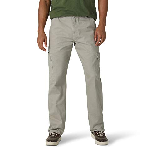 Wrangler Authentics Men's Classic Twill Relaxed Fit Cargo Pant, Khaki Dust, 42W x 30L