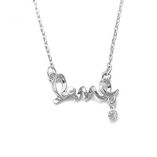 collar Collar Con Letras De Amor, Collar De Color Plateado Dorado Con Circonita De Perlas De Imitación Para Mujer, Collares Y Colgantes, Gargantilla De Joyería Colar