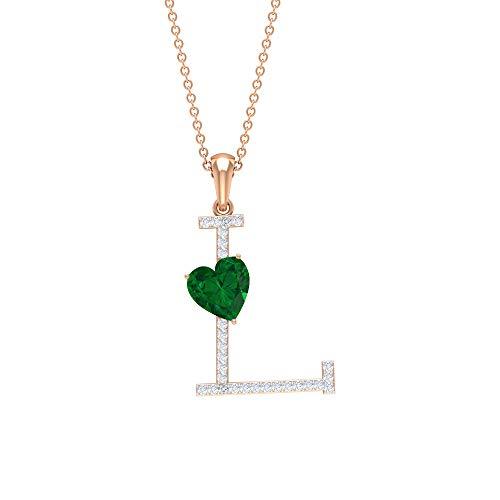 Rosec Jewels - L Initial Alphabet Pendant, D-VSSI Moissanite Necklace, 1.7 CT Heart Shape Emerald Pendant (AAA Quality), 14K Rose Gold