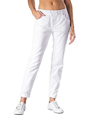 CLINIC DRESS Hose - Damen Weiss. Krankenschwester Stretch Hose 5-Pocket mit Elastikbund und Kordelband weiß 38