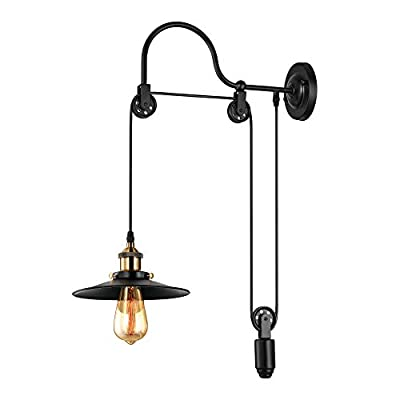 BAYCHEER Industrial Adjustable Gooseneck Wall Sconce Mounted Lamp Pulley Wall Lamp Wheel Wall Light
