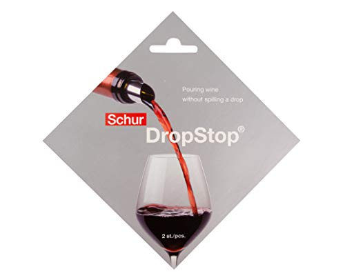 Original DropStop Weinausgießer Plättchen, Tropfschutz, Silber, 2 Stück, Geschenkartikel