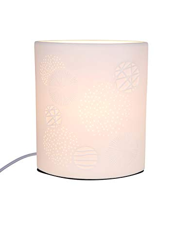 GILDE lamp Ellipse - porselein met gatpatroon in prickellook H 28 cm