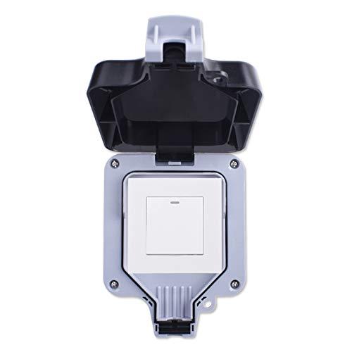 Interruptor de pared al aire libre impermeable a prueba de intemperie impermeable IP66 1 GAND 1 forma de encendido/apagado del interruptor de luz (Color : White, Number of Gangs : 2 Gang)