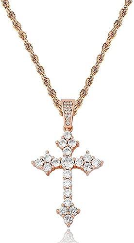 NC110 Collar con Colgante en Platino o Chapado en Oro con Cruz de Jesús con Cadena de Circonita Cúbica de 3 mm Rosa YUAHJIGE