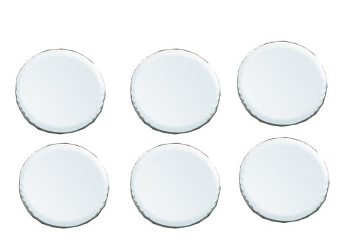 Biedermann & Sons 4-Inch Round-Shaped Beveled Mirror Plates, Set of 6