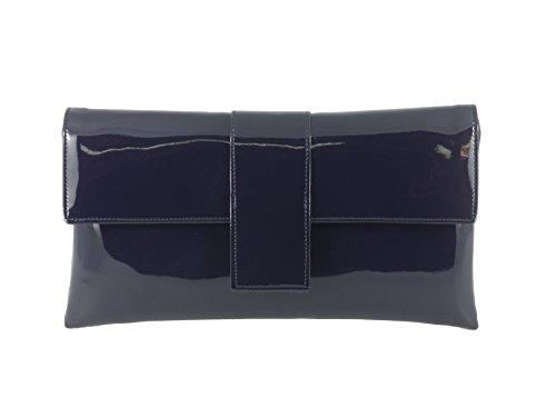 LONI elegante Faux Lackleder Clutch Schulter Anlass Hochzeit Partei Prom Tasche in dunkelblau