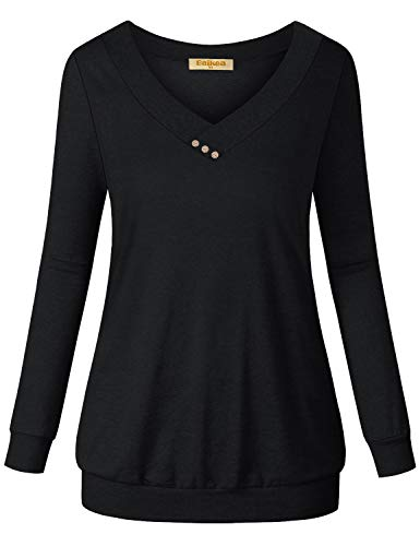 Baikea Tunic Sweatshirts for Women, Long Sleeve Pullover Shirt V Neck Plain Button Decor Tops Ladies Solid Color Stretch Band Bottom Slim Fit Thin Workout Sport Clothing Black M