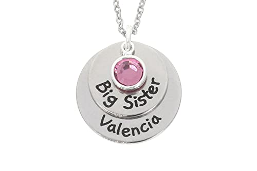 Big Sister Necklace - Personalize Little Middle Title, Name, Birthstone, Chain Length - 15 20 MM...
