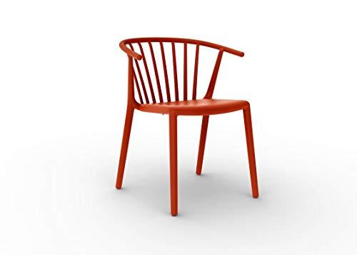 resol Set de 2 sillas de diseño Woody para Interior, Exterior, jardín - Color Rojo