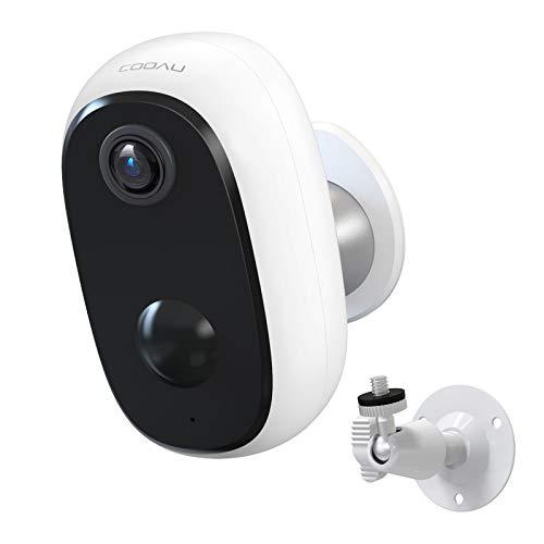 COOAU überwachungskamera WLAN, 10000mAh Akku Kabellos Wiederaufladbare IP Kamera mit PIR-Bewegungserkennung, Lange Zeit Standby mit 15M Nachtsicht und 2 Wege Audio, IP65 Wasserdicht und SD Kartenslot