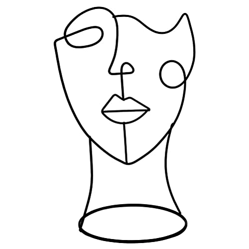 JJZXD Figura Decorativa Moderna Metal Cara Arte Estatua Decorativa decoración Abstracta para el hogar Humano Cara Arte nórdico Ornamento