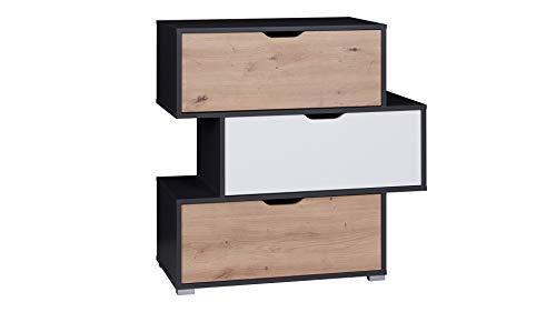 Domtech Commode met schuifladen, antraciet grafiet, dressoir, kleine kast met 3 laden, mat eiken, multifunctionele kast voor woonkamer, slaapkamer of kinderkamer, rek, tv-dressoir