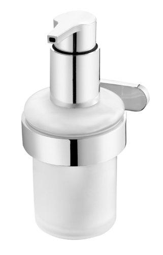 Bisk Natura Seifenspender aus Milchglas, zur Montage an der Wand, verchromt