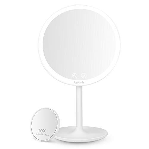 Auxmir Espejo Maquillaje con Luz LED, Espejo Cosmético Pequeño con Aumento 10X, Espejo de Mesa Iluminado, Espejo de Pie con 3 Luces Ajustables, Plegable Recargable USB, Blanco