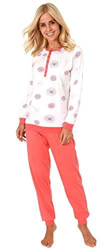 Klassische Damen Schlafanzug Pyjama Langarm mit Bündchen + Knopfleiste am Hals - 191 201 90 316, Farbe:Creme, Größe2:44/46