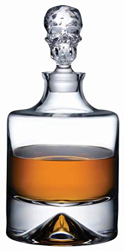 Topkapi Elite 250.892 The Shade - Whisky Karaffe aus bleifreiem Kristallglas, Handgefertigt~1,2 Liter, mit mystischem Totenkopf-Design