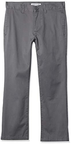 Amazon Essentials Jungen Uniform Straight-Fit Flat-Front Chino Khaki Pants, Grau, 10 (H)