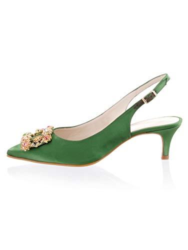 Alba Moda Pumps aus hochwertigem Satin in Slingform Grün