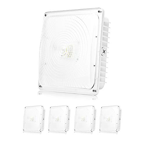 """Parmida (4 Pack) LED Canopy Light, 45W, 0-10V Dimmable, 5200lm, 110-277VAC, IP65 Waterproof, DLC-Qualified & ETL-Listed, 5000K (Day Light), 9.6"""" x 9.6"""" Street, Area & Outdoor Lighting, White"""
