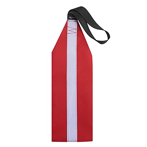 MOOCY Safety Tow Flag with Webbing for Kayak Boat Bicycle Travel Tow Warning Truck Loads (Red with Reflective Band)