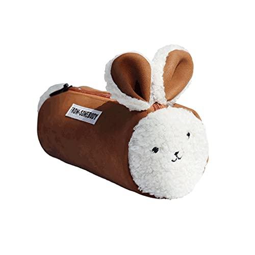 ZANZAN Caja de lápices de Conejo de Lujo de Gran Capacidad, Bolsa de Almacenamiento de papelería Multifuncional, Bolsa de cosmética portátil Bolsa de Bolsa-Negro/marrón (Color : Brown)