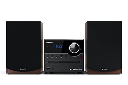 SHARP XL-B517D(BR) Microcatena Sound System Stereo con radio DAB, DAB+, FM, Bluetooth, CD-MP3, riproduzione USB, altoparlanti in legno e 45 W colore marrone