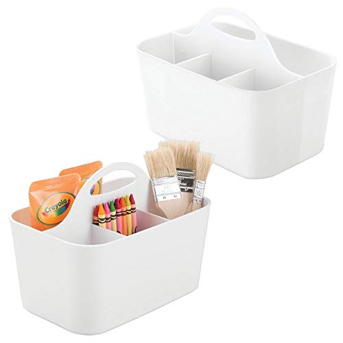 mDesign Plastic Portable Craft Storage Organizer Caddy Tote, Divided Basket Bin for Craft, Sewing, Art Supplies - Holds Paint Brushes, Colored Pencils, Stickers, Glue, Yarn - Small, 2 Pack - White