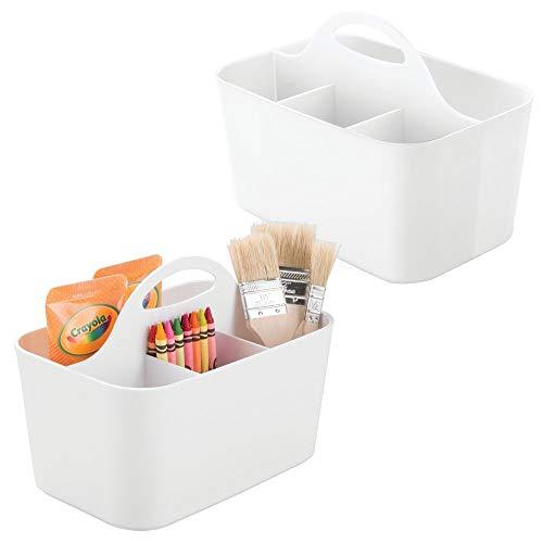 mDesign 2er-Set Schreibtisch Organizer – Bastelsachen und Nähutensilien Aufbewahrung für Knöpfe, Scheren, Farben etc. – tragbarer Stiftehalter mit 4 Fächern aus Kunststoff – weiß