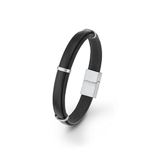 s.Oliver Herren-Armband Magnetverschluss Edelstahl Leder 21 cm