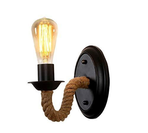 skoy iyue Lampe Murale LED Salon Chevet Américain Suspension Lampe Chambre Rétro Créatif Escalier Allée Jardin Fer Art Corde De Chanvre