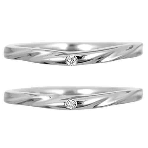 [ココカル]cococaru ペアリング 2本セット K18ホワイトゴールド ダイヤモンド マリッジリング 結婚指輪 日本製(レディースサイズ19号 メンズサイズ8号)