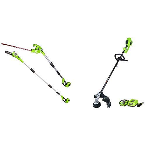 Greenworks 8.5' 40V Cordless Pole Saw with Hedge Trimmer Attachment, Battery Not Included PSPH40B00 with 14-Inch 40V Cordless String Trimmer (Attachment Capable), 4.0 AH Battery Included 21362
